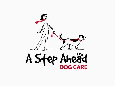 A Step Ahead Dog Care - Logo animal lover logo dog illustration