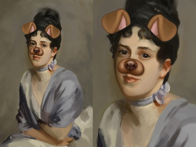 Master Study - Made Modern chat snap filter dog oil photoshop painting sargent study master