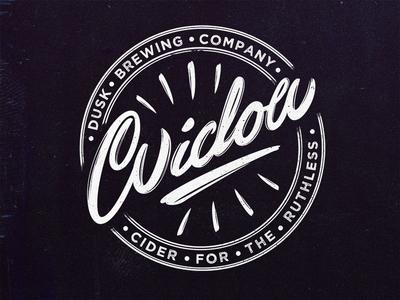 Widow Cider Logo script lettering hand vintage widow logo cider
