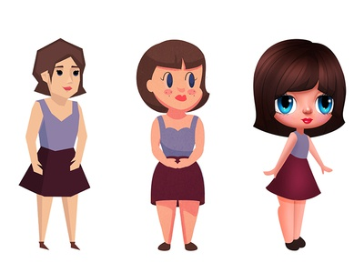 Girl Character - 2D Game - 3 Concepts 2d character game low poly concepts 3