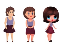 Girl Character - 2D Game - 3 Concepts