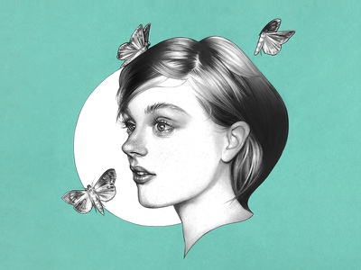 Moth portrait girl butterfly moth pencil traditional drawing