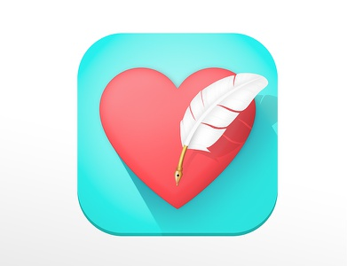 Quill Heart - App Icon ios love journal gold blue icon app heart quill