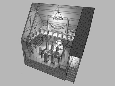 Medieval Hideout - Interior Concept perspective. interior viking 2d design game plan floor floorplan concept medieval