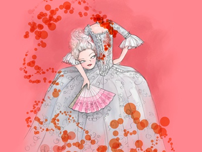 Decapitated Dauphine french woman pink marie antoinette illustration illo
