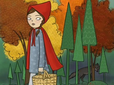 Little Red red wolf girl fairy tale little red riding hood