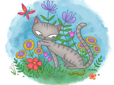 Cat In The Grass kitty butterfly nature flowers watercolor illo illustration cat