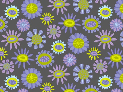 Cool Flowers pattern surface design purple green grey daisies nature flowers floral