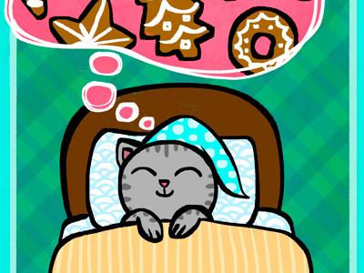 Sweet Dreams! xmas cookies christmas cat illo illustration