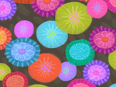 Painted Flowers pattern bright floral flowers