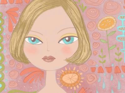 Patchwork illustration floral flowers pink doodle illo girl