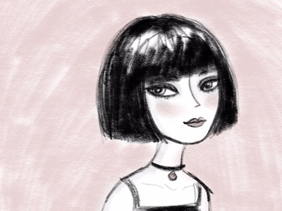 Sweet and Sassy bob illustration pink doodle illo girl