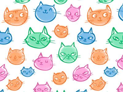 Cats kitten kittens kitties kitty cat cats pink blue green purple surface design pattern