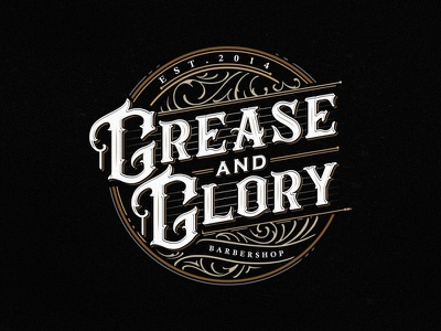 Grease And Glory Barbershop calligraphy high detail detail hand lettering lettering vector typography