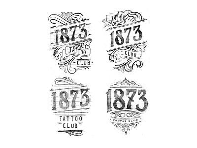 1873 sketch merch design illustration vintage black and white high details hand lettering details brand lettering typography