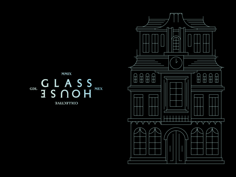 Glass House Collective outline black fashion branding logo mansion house glass