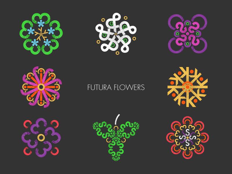 Futura Flowers nature simmetry typography flower futura