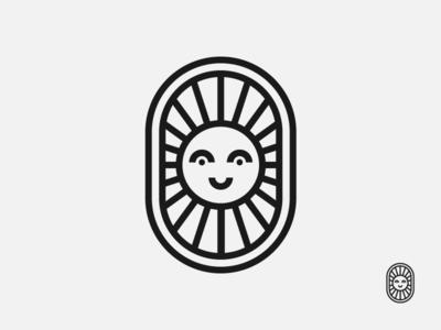 Sun sky badge clean happy logo sun