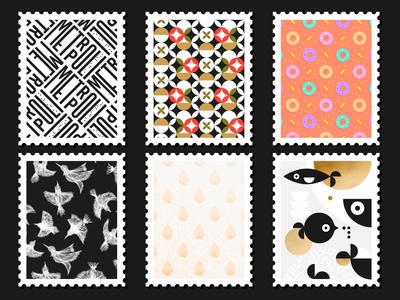 Postage Stamps birds drop cereal fish pattern postcard postage stamp
