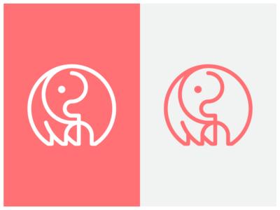 Elephant outline pink safari symbol icon symbol logo elephant