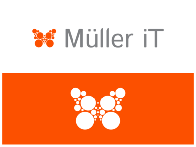 Müller iT isotype logo wings orange branding circle fly nature butterfly it