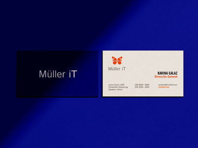 Müller iT Business Card klein orange circle shadow tech butterfly blue card business card