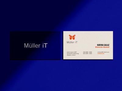 Müller iT Business Card klein orange circle shadow tech butterfly blue card business card