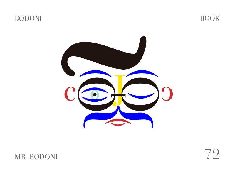 Mr Bodoni play typography character style glasses mustache face bodoni