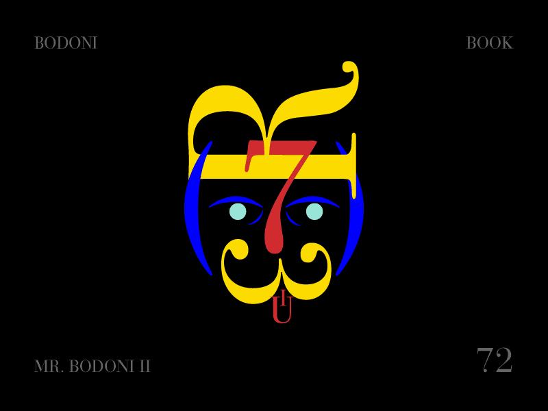Mr. Bodoni II. play hair blonde mustache character typography bodoni