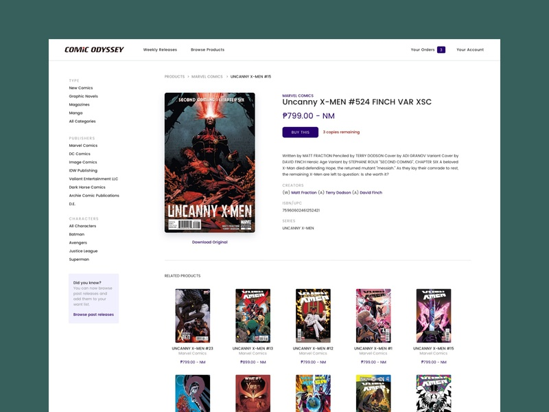 Product page for Comic Odyssey profile ecommerce e-commerce ui product page