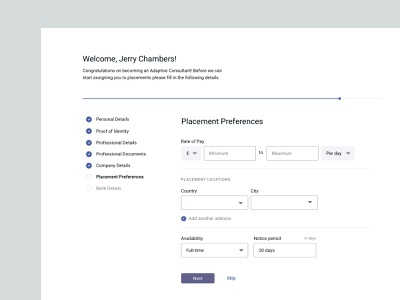 Profile completion • Simmons & Simmons Adaptive onboarding product design form