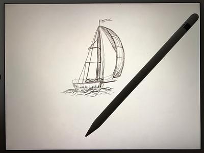 Ship in the sea (hand drawn) apple pencil ipad paper hand drawn