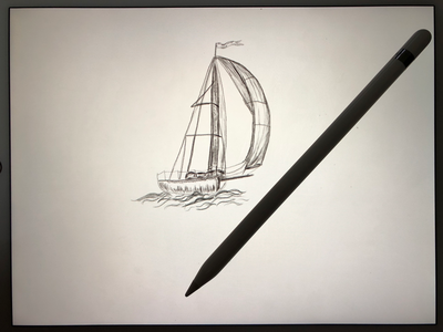 Ship in the sea (hand drawn) apple pencil ipad paper hand drawn