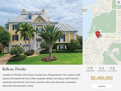 Property Info real estate flat map modal window luxury homes