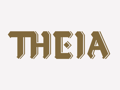 Theia Optical blackletter lettering design branding typography logo