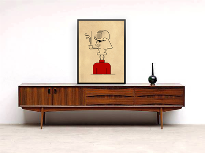 'Duality portrait' on  MidCentury modern furniture