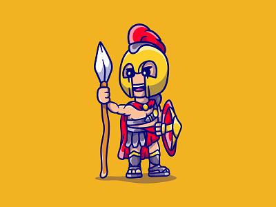 Cute brave spartan shield spear warrior mascot cartoon illustration gladiator spartan sparta