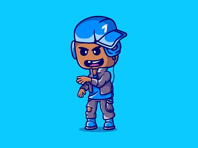 Cute rapper boy illustration character design logo vector illustrator graphic design sing song mascot illustration character cartoon rap rapper