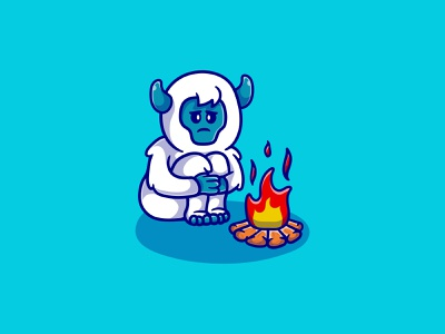 Cold cute yeti illustration logo ape design monster mascot illustration character cartoon abominable bigfoot fire camp campfire cold yeti