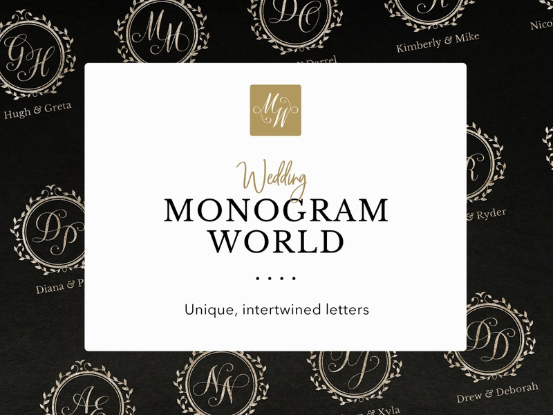 The Monogram World leaves frame floral traditional elegant gold get married marry editable vector calligraphy script typography handcrafted handmade logo initials wedding monogram monogram wedding