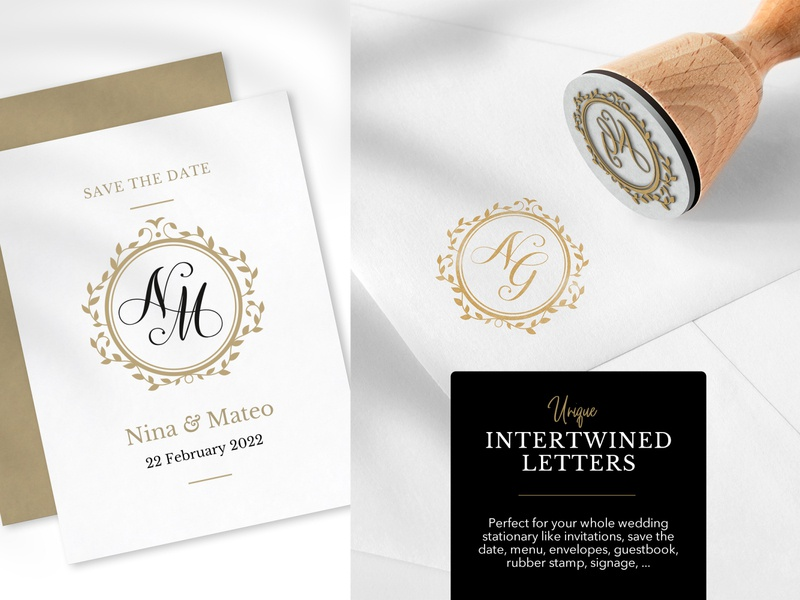 351 monograms for your story rubber stamp stamp leaves frame floral traditional elegant gold get married marry calligraphy script typography handcrafted handmade logo initials wedding monogram monogram wedding
