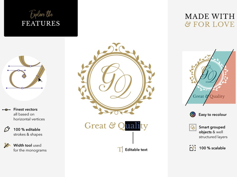 Made with & for love (the features) leaves frame floral traditional elegant gold get married marry editable vector calligraphy script typography handcrafted handmade logo initials wedding monogram monogram wedding