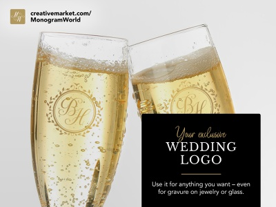 Exclusive premade wedding logos leaves frame floral traditional elegant gold get married marry editable vector calligraphy script typography handcrafted handmade logo initials wedding monogram monogram wedding