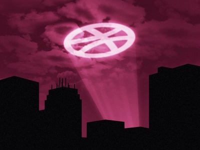 gothhham gothhham callout search night skyline clouds light signal city dribbble