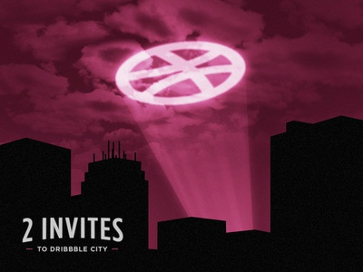 2 dribbble invites pink night city skyline spotlight batman gotham dribbble contest invite
