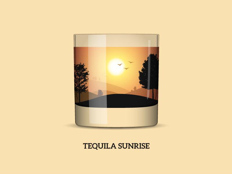 Nature Cocktail 1: «Tequila Sunrise» tequila hills sunrise sip longdrink shots cocktails nature