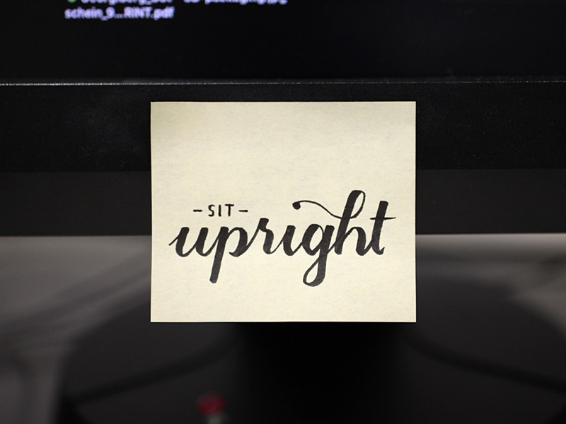Sit upright post-it type hand lettering
