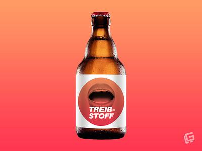 TREIBSTOFF mockup sticker label fuel treibstoff lips horny beer