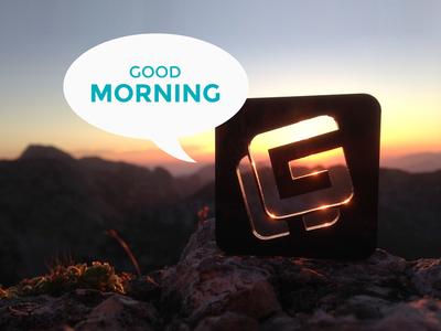 Good morning sun rise mountains logo self branding outside