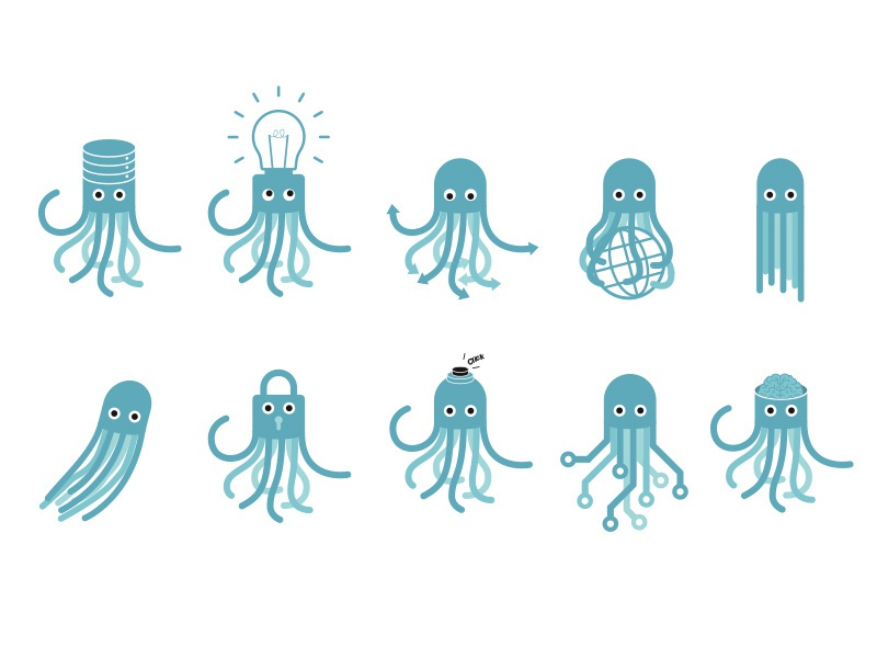Octopus skills illustration features skills octopus